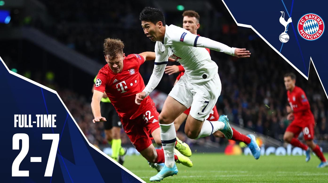 토트넘 공격수 손흥민은 지난 2일 바이에른 뮌헨과 유럽 챔피언스리그 경기에서 선제골을 터트리며 고군분투했다. 하지만 팀의 2-7 대패를 막지는 못했다. [사진 토트넘 트위터]