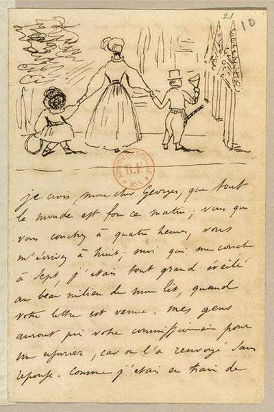 조르주 상드와 두 아이의 그림이 있는 알프레드 드 뮈세의 편지. 1833년 7월 28일. 프랑스 국립 도서관 소장. [출처, Wikimedia Commons (Public domain)]