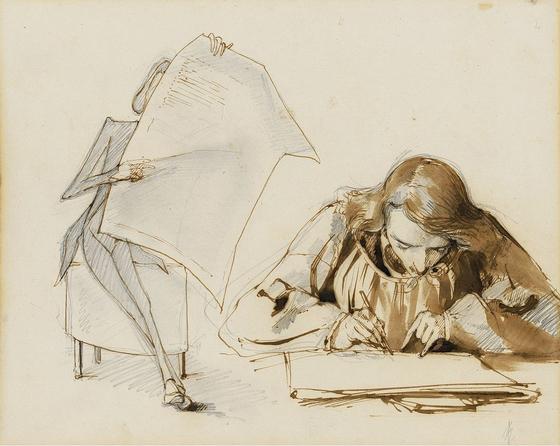 신문을 읽고 있는 쇼팽과 그림 그리는 모리스. 폴린 비아르도 그림. 1841년경. 바르샤바의 프레데릭 쇼팽 기념관 소장. [출처, Wikimedia Commons (Public Domain)]