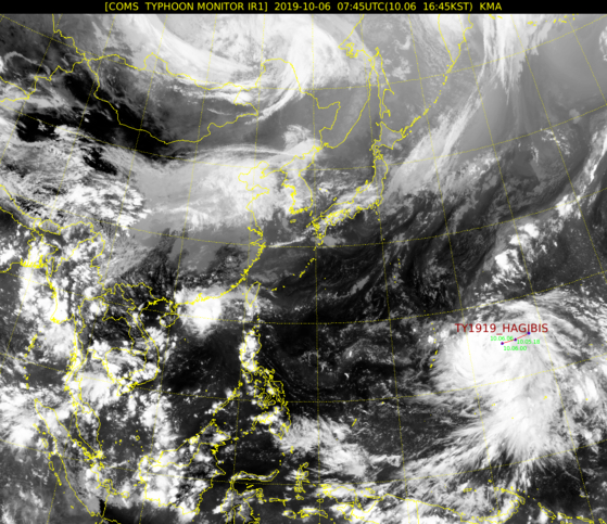 위성으로 본 태풍 하기비스의 모습. [기상청]