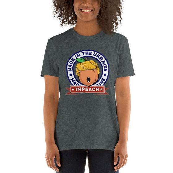 영어 단어 탄핵(Impeachment)과 복숭아(Peach)를 이용한 티셔츠. [온라인 쇼핑몰 엣시 캡처]