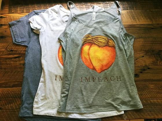 영어 단어 탄핵(Impeachment)과 복숭아(Peach)를 이용한 티셔츠 디자인. [미국 온라인 쇼핑몰 엣시 캡처]