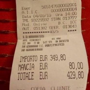 일본인 관광객이 로마 음식점에서 바가지 피해를 봤다고 주장하며 공개한 영수증. [연합뉴스]