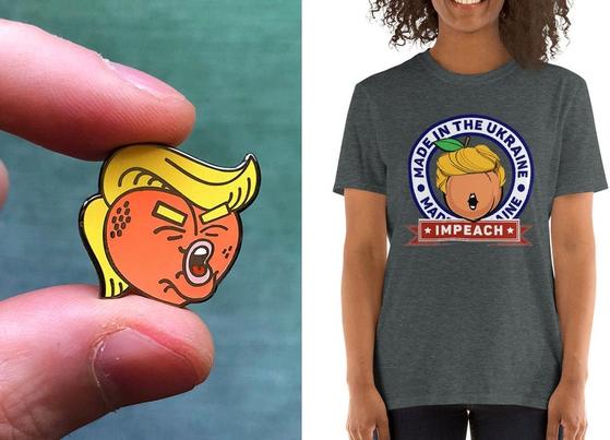 트럼프 탄핵 정국으로 인해 미국에서 탄핵(impeachment)을 연상케 하는 복숭아(peach) 디자인 열풍이 불고 있다. [미국 온라인 쇼핑몰 캡처]