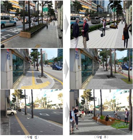 서울시가 추진하는 녹색교통지역 안 도로 줄이기 사업의 전후 비교 모습. [자료 서울시]