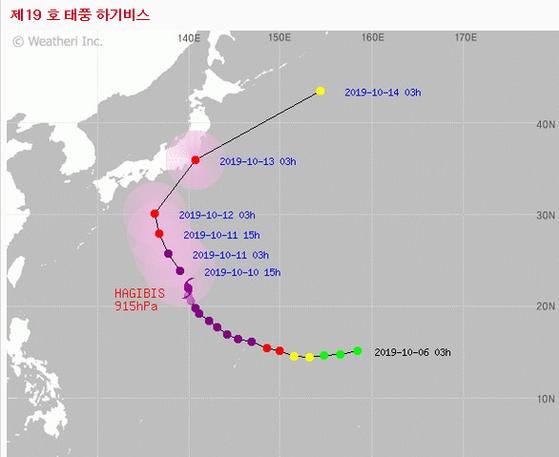 태풍 하기비스는 10일 오전 3시 기준 괌 북북서쪽 약 1080km 부근 해상을 지나고 있다. [기상청]