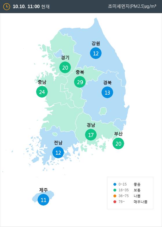 [10월 10일 PM2.5]  오전 11시 전국 초미세먼지 현황