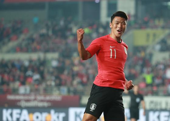 황희찬이 스리랑카전에서 골을 터뜨리며 한국의 8-0 승리에 기여했다. [뉴스1]