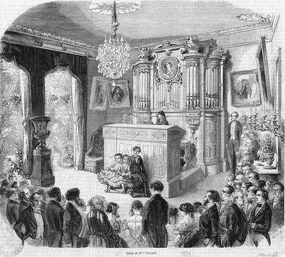 폴린 비아르도의 살롱. 오르간이 설치된 그녀의 살롱은 한때 문화, 사교계의 중심이었다. [사진 Wikimedia Commons (Public Domain)]