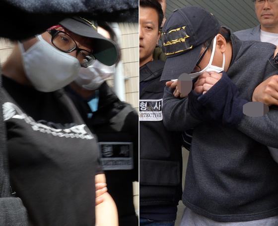 지난 5월 2일 오전 광주 북부경찰서에서 중학생 의붓딸을 살해하고 시신을 유기한 계부(31)의 범행에 공모한 친모(39)가 살인 혐의로 영장실질심사를 받기 위해 광주지방법원으로 압송되고 있다. [뉴스1]