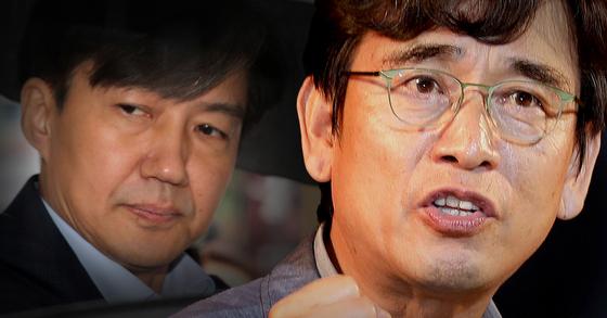 조국 법무부 장관 후보자(왼쪽)과 유시민 노무현재단 이사장. [중앙포토·연합뉴스]