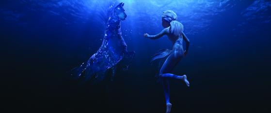 2편에서 엘사가 만나게 되는 신화 속의 수중 정령. 말의 모습을 한 이 존재는 바다의 힘을 이용해 숲의 비밀을 지킨다. [사진 월트디즈니컴퍼니 코리아]