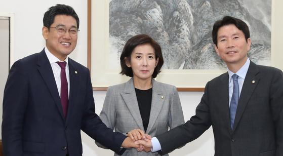 바른미래당 오신환(왼쪽부터), 자유한국당 나경원, 더불어민주당 이인영 원내대표. [연합뉴스]
