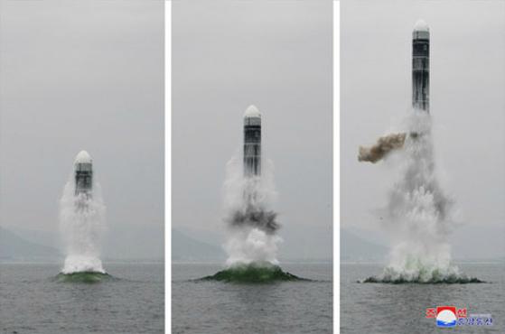 북한이 지난 2일 강원도 원산 앞바다에서 발사한 신형 잠수함발사탄도미사일(SLBM)인 북극성-3형. 당시 일본은 이 미사일의 정보를 제대로 파악하지 못했다. [사진 조선중앙통신]