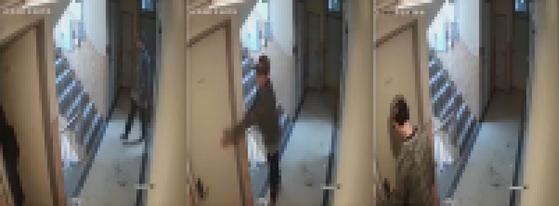 지난 5월 관악구 신림동에서 혼자 사는 여성의 집으로 따라 들어가려던 남성이 붙잡혔다. [사진 트위터 영상 캡처]