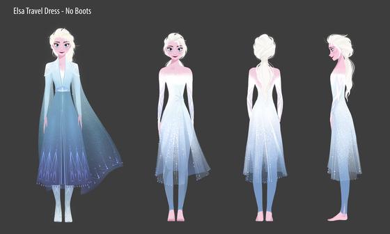2편에서 엘사의 캐릭터 디자인 개발 과정 아트워크. 엘사가 치렁치렁한 드레스를 벗어던지고 맨발로 선 모습도 있다. [사진 월트디즈니컴퍼니 코리아]