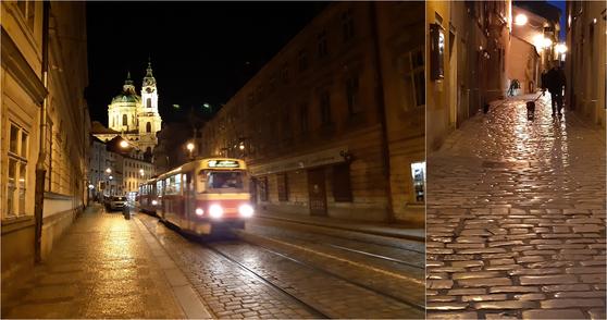 체코 프라하 시내의 가로등 빛을 받아 반짝이는 도로와 전차, 크로아티아 로빈의 반질반질 닮은 돌길. 내게는 전깃불 조명에 속는 화려한 아름다움보다 평범한 일상의 야경이 더 다가왔다. [사진 박헌정]