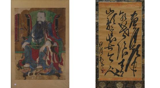 사명대사 진영(왼쪽)과 그가 일본 교토 고쇼지에 남긴 유묵 '최치원의 시구'.