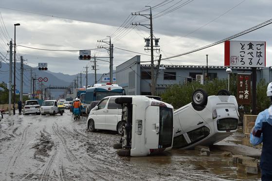 제 19호 태풍 하기비스가 지나간 뒤 14일 일본 나가노현의 전경. [연합뉴스]
