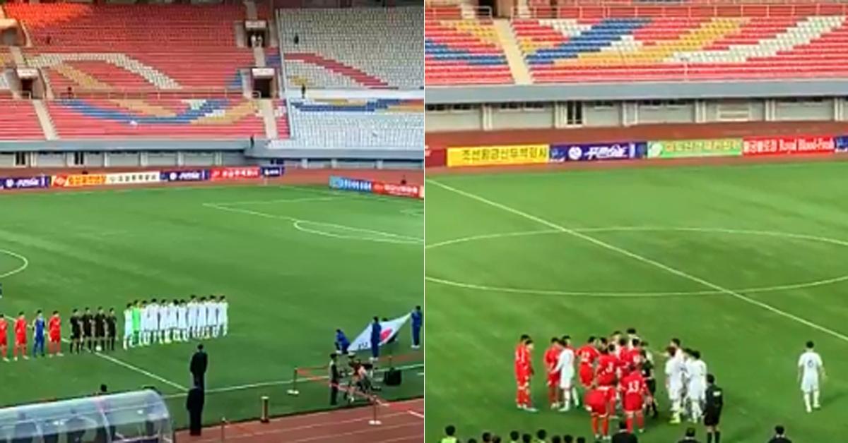 15일 평양에서 열린 한국과 북한의 2022년 카타르 월드컵 아시아 예선전. 경기 전 국가연주(왼쪽) 모습과 경기 중 한국과 북한 선수들이 잠시 충돌하는 영상. [요아힘 베리스트룀 북한 주재 스웨덴 대사 트위터]