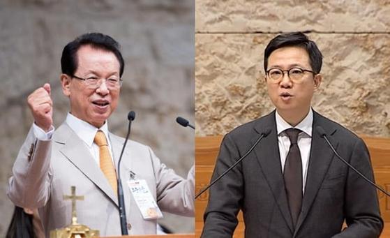 명성교회 김삼환 원로목사(왼쪽)와 아들 김하나 목사의 세습 여부가 개신교계에서 논란이 되고 있다.[중앙포토]
