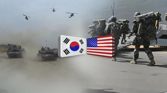 북한 조선중앙통신은 16일 한미 해병대 연합훈련에 대해 침략전쟁훈련으로 규정하며 한미연합훈련이 계획되는 상황에서 대화와 평화를 논의할 수 없다는 내용의 논평을 냈다. [사진 연합뉴스TV 제공]