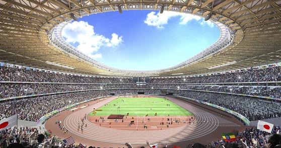 2020년 도쿄올림픽 조직위원회가 2015년 발표한 주경기장 조감도. 대부분의 육상경기가 땡볕 아래 열릴 수 있어 무더위 대책이 시급하다는 지적이 나왔다. [AP=연합뉴스]