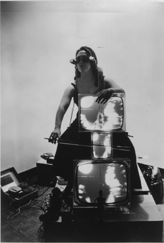 Charlotte Moorman with TV Cello and TV Eyeglasses 1971 Photograph, gelatin silver print Lent by the Peter Wenzel Collection, Germany. [사진 테이트 모던]