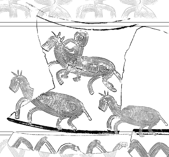 쪽샘 44호분에섭 발굴된 토기에 새긴 신라 행렬도 중 말을 탄 인물과 말들이 행렬하는 장면. [사진 국립경주문화재연구소]