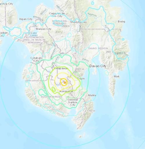 지진 발생 지점. [미국 지질조사국(USGS) 홈페이지 캡처=연합뉴스]