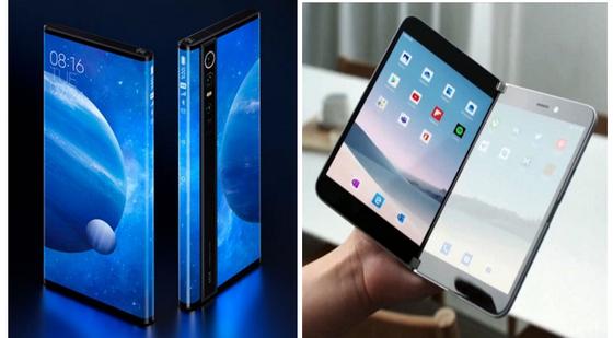 서라운드 디스플레이를 적용한 샤오미의 '미믹스 알파'(왼쪽)와 MS의 듀얼스크린폰 '서피스 듀오'