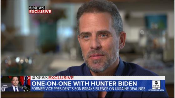 미국 민주당 조 바이든 대선 후보의 차남 헌터 바이든이 ABC방송과 인터뷰했다. 15일(현지시간) 방송됐다. [방송 화면 캡쳐]