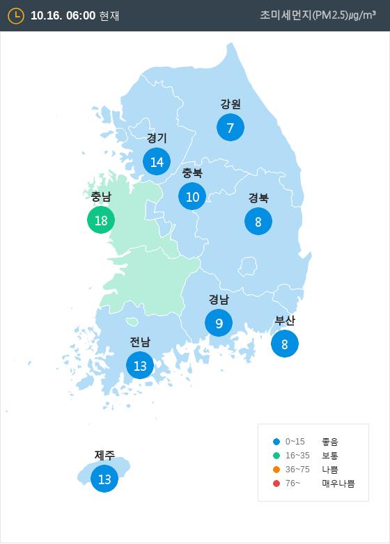 [10월 16일 PM2.5]  오전 6시 전국 초미세먼지 현황