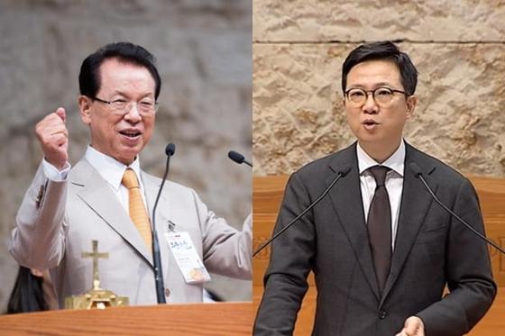 세습 논란이 거센 명성교회의 김삼환 원로목사(왼쪽)와 아들 김하나 목사. [중앙포토]
