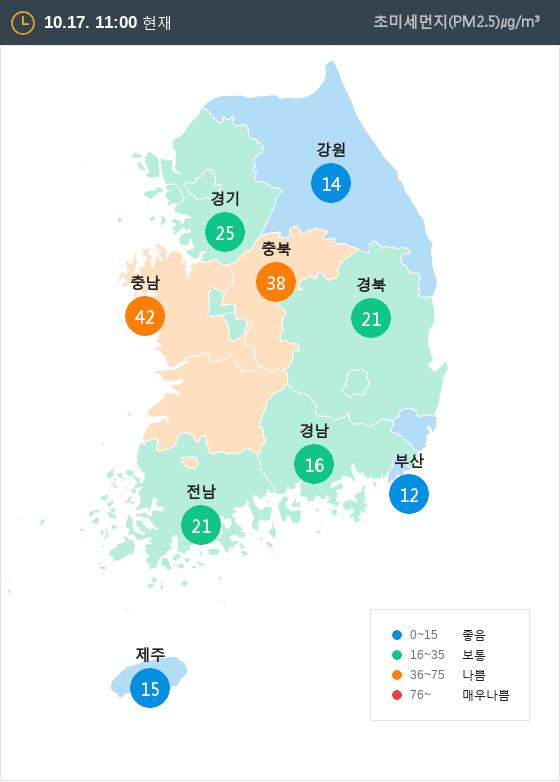 [10월 17일 PM2.5]  오전 11시 전국 초미세먼지 현황