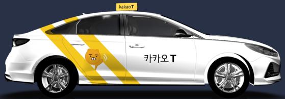 카카오 프렌즈 인기캐릭터인 라이언을 활용한 카카오T블루 택시 [사진 카카오 모빌리티]