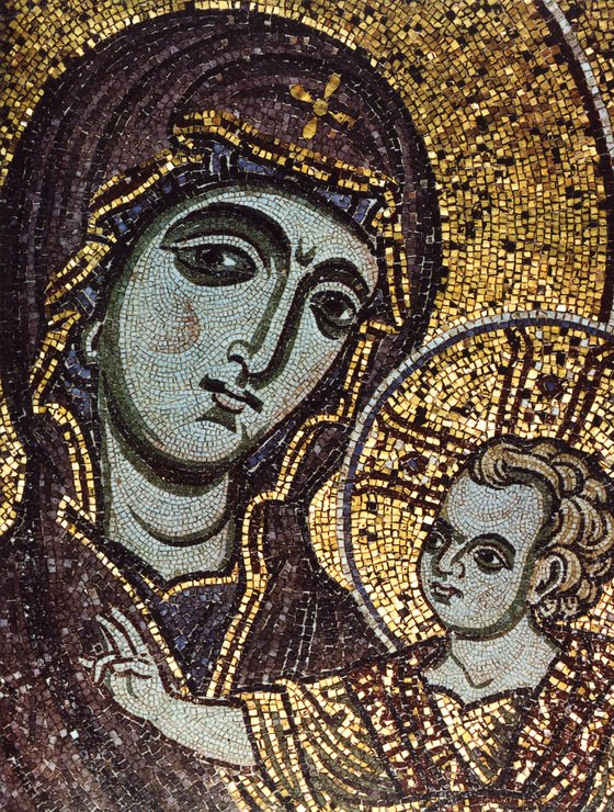 비잔틴 양식의 스테인드 글라스. 어린 시절 예수는 '친부의 부재'속에서 성장했다. [중앙포토]