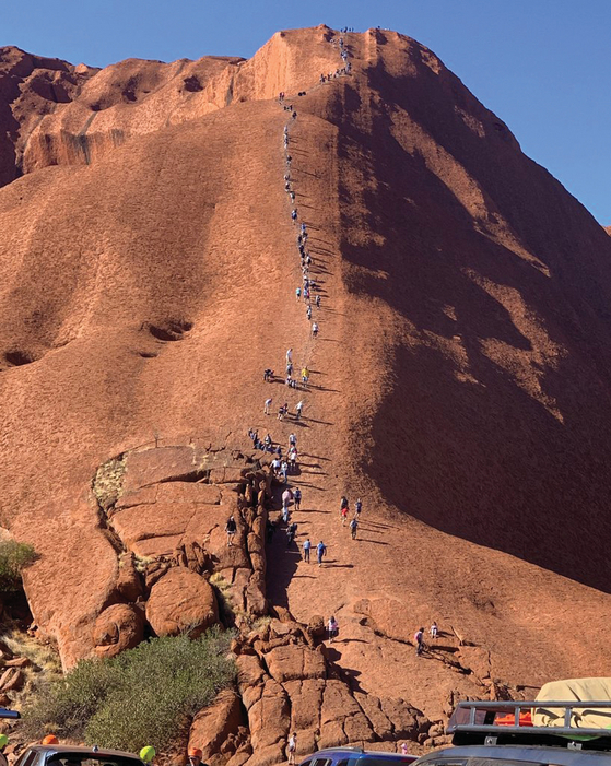 호주 울룰루 바위를 등반하는 사람들. [사진 카트리나 베반]