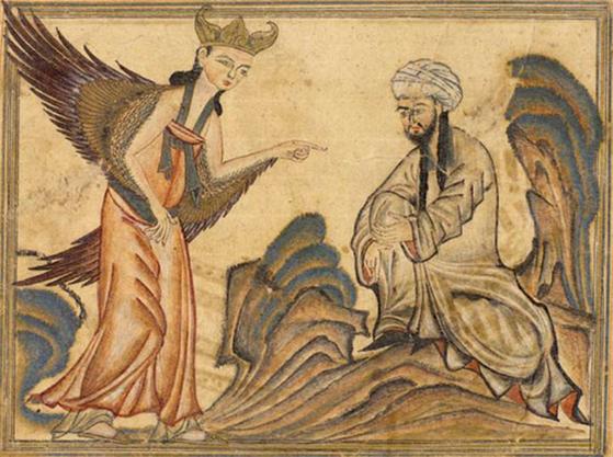 이슬람교의 창시자인 무함마드가 천사를 통해 계시를 받고 있다. 무함마드는 유복자로 태어났다. [중앙포토]