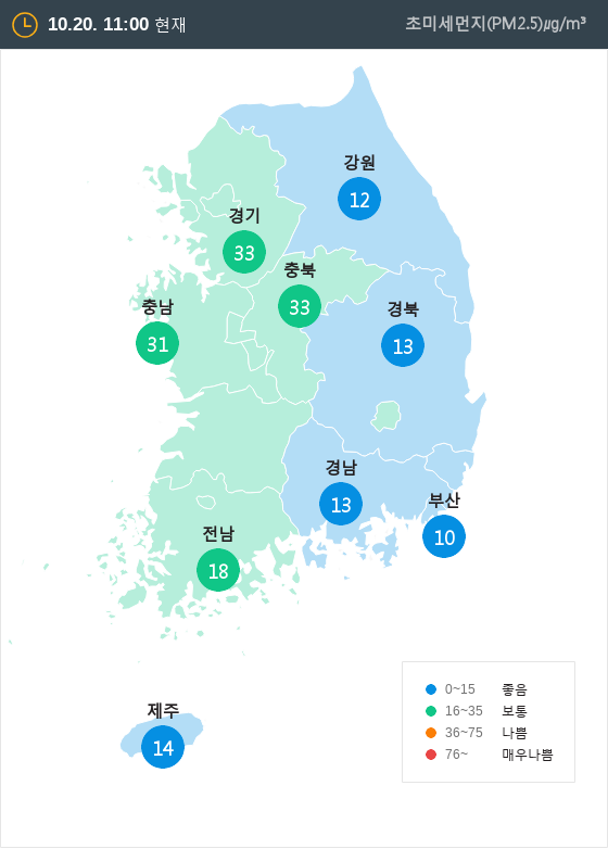 [10월 20일 PM2.5]  오전 11시 전국 초미세먼지 현황