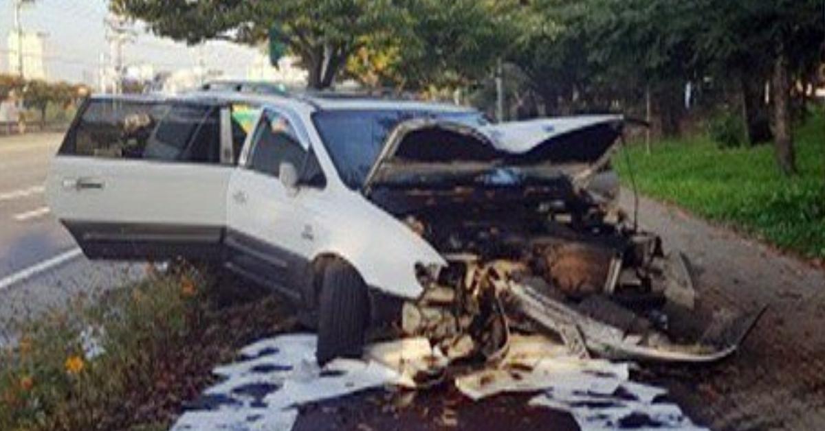 21일 경기 평택시에서 10대 여중생이 무면허 운전을 하다가 사고를 냈다. [사진 경기도소방재난본부]