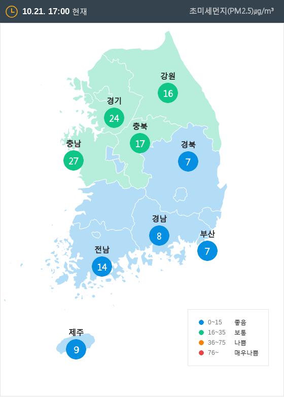 [10월 21일 PM2.5]  오후 5시 전국 초미세먼지 현황