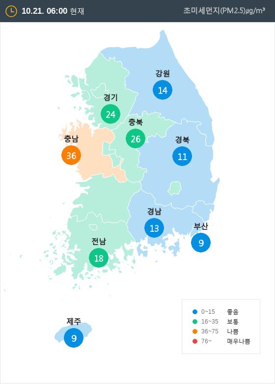 [10월 21일 PM2.5]  오전 6시 전국 초미세먼지 현황