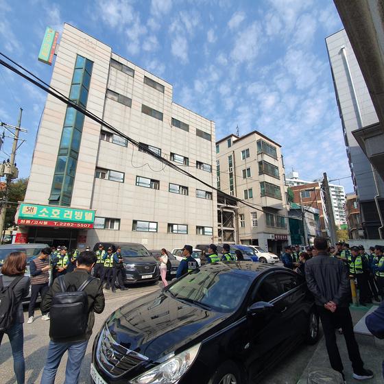 22일 오전 경찰은 한국대학생진보연합 회원이 근무하고 있는 곳으로 알려진 서울 성동구 평화이음 사무실 압수수색에 나섰다. 남궁민 기자