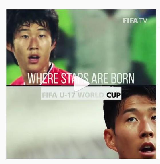 FIFA U-17 월드컵 홍보 영상에 소개된 손흥민. [FIFA 월드컵 공식 인스타그램 캡처=연합뉴스]