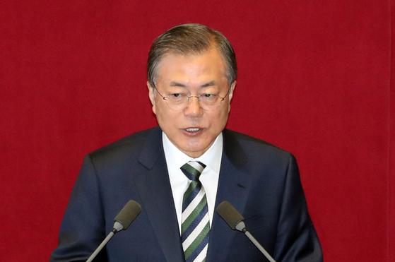 문재인 대통령이 22일 국회에서 2020예산안 관련 시정연설을 하고 있다. 청와대사진기자단