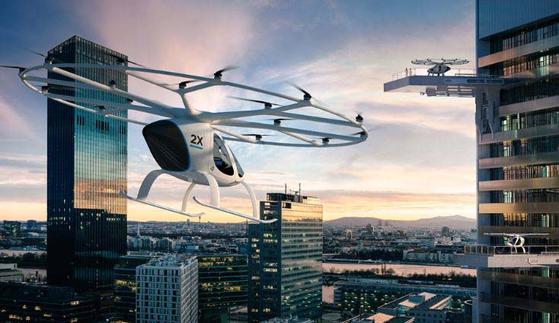 도심 속 하늘을 나는 '항공 택시' 볼로콥터의 상상도 [사진 볼로콥터 홈페이지]