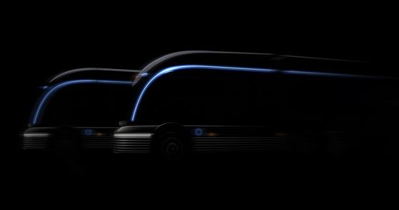 현대자동차가 22일 공개한 수소전기 트럭 콘셉트 'HDC-6 넵튠' 티저 이미지. [사진 현대자동차]