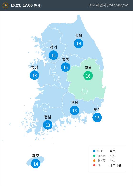 [10월 23일 PM2.5]  오후 5시 전국 초미세먼지 현황