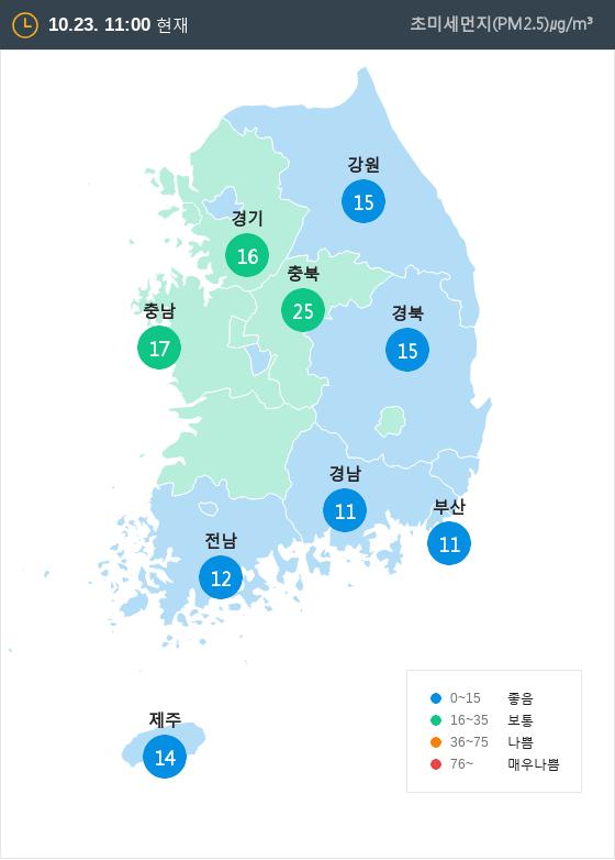 [10월 23일 PM2.5]  오전 11시 전국 초미세먼지 현황